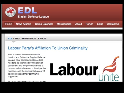 EDL hate trades unions